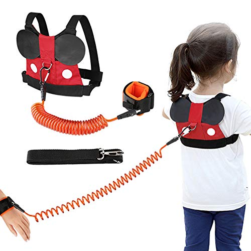 Accmor Toddler Leash Harness, Child Safety Harness Baby Leash + Anti-Lost Wrist Link, Cute Kids Harness with Walking Assistant Strap Belt Tether for 1-5 Years Boys and Girls to Zoo or Mall