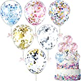 30 Pieces Confetti Balloon Cake Toppers Mini Balloon Cake Cupcake Topper 5 Inch Sequins Balloon Birthday Dessert Topper for Cake Decoration Birthday Wedding Baby Shower Anniversary, 6 Colors
