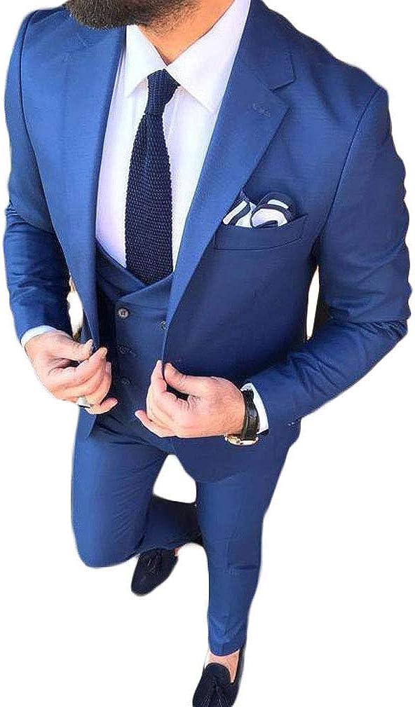 3 PC Slim Fit Men's Blue Groomsmen Suit Notch Lapel Jacket Pants Vest Wedding Suit Business Suit Casual Suits
