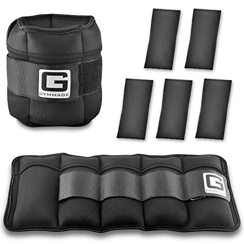 GYMMAGE Ankle Weights, 10Lbs Adjustable Ankle Wrist Weights Set for Men Women, Arm Leg Weights with Removable Weights for Walking, Running, Jogging, Lifting, Home Gym Workout Exercises, 2 Pack