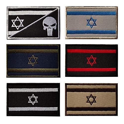 lihe008 Insignia israelí Bandera asiática Figuras de Tela de la Bandera Mágica Pegatinas Parche Bordado Bordado Militar Tactical Insignia Armband Patch 5 * 8cm 6pcs
