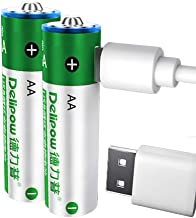 Delipow AA Rechargeable Batteries,USB 1.5V Lithium Rechargeable Batteries 2800mWh AA Battery,1 H Quick Charge ,1200 Cycle with 2 in 1 Micro USB Cable - 2 Pack