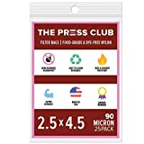 90 Micron | Premium Nylon Tea Filter Press Screen Bags | 2.5' x 4.5' | 25 Pack | Zero Blowout Guarantee | All Micron & Sizes Available