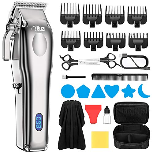 EKUZI Hair Clippers For Men Cordless Hair Trimmer Professional Haircut & Barbers Grooming Kit with 8 Attachment Combs