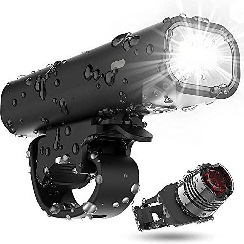 XLYAN Conjunto De Luz De Bicicleta Recargable USB, Tiempo De Ejecución 8+ Horas 400 Lumen Super Bright Firaver Light Frontal Lights Y Trasero Trasero LED, 4 Modo De Luz Se Adapta,Black