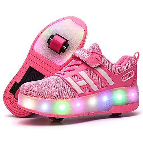 Sunflower Zapatos De Skate para Niños Zapatos con Ruedas con Luz LED Zapatillas De Deporte De Moda Niñas Niños Zapatillas De Deporte De Malla Cómodas,Pink-30