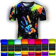 Luminous Fabric & Textile UV Paint - Set of 8 Textile Neon Black Light Glow Paints - Fluorescent Tie Dye Clothing Colors – Vibrant Glowing Fabric Paints - 8 x 20 ml / 0.7 fl oz