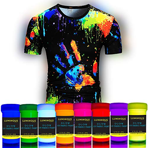 Luminous Fabric & Textile UV Paint - Set of 8 Textile Neon Black Light Glow Paints - Fluorescent Tie Dye Clothing Colors – Vibrant Glowing Fabric Paints - 8 x 20 ml / 0.7 fl oz