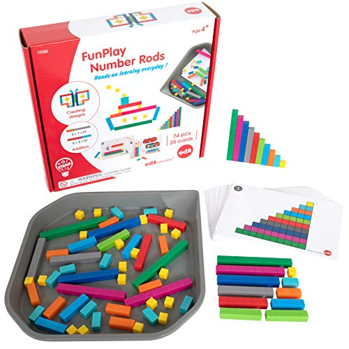 edxeducation FunPlay Number Rods - Homeschool Kit for Kids - Set of 74 Math Manipulatives + 50 Activities + Messy Tray