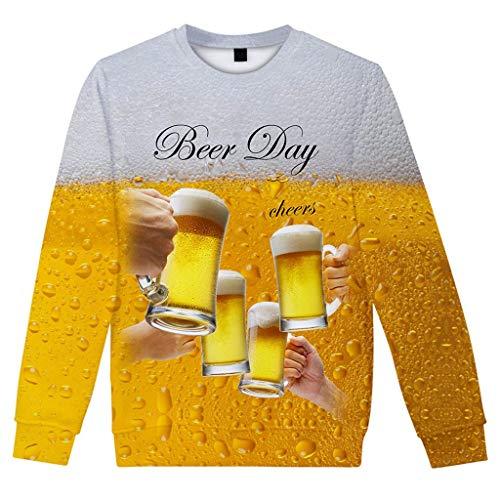 VANMO Herren Bluse,Trachtenmode Online 2020 Neu Herren Beiläufiges langes Hülsen Bier Festival neues Drucken des Art 3D O-Ansatz Hemd Das hochgelobte gelbe T-Shirt Trend
