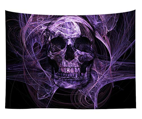 ZXBFJK Tapestry Wall Hanging,Hippie Psychedelic Large Rectangular Print Fabric Tapestries,Purple Horror Rays Skull,Modern Indian Art Print Mural,for Bedroom Living Room Dorm Home Decor