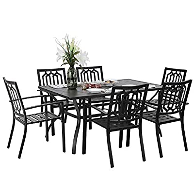 "PHIVILLA 7 Piece Metal Outdoor Patio Dining Bistro Sets with Umbrella Hole - 60"" x 37.8"" Rectangle Patio Table and 6 Backyard Garden Outdoor Chairs, Black"