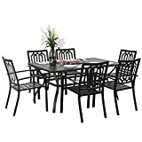 PHI VILLA 7 Piece Metal Outdoor Patio Dining Bistro Sets with Umbrella Hole - 60' x 37.8' Rectangle Patio Table and 6 Backyard Garden Outdoor Chairs, Black