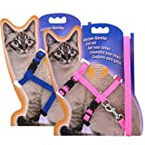kuou 2Pcs Adjustable Cat Lead Leash Pet Cat harness Walking Training for Kitten