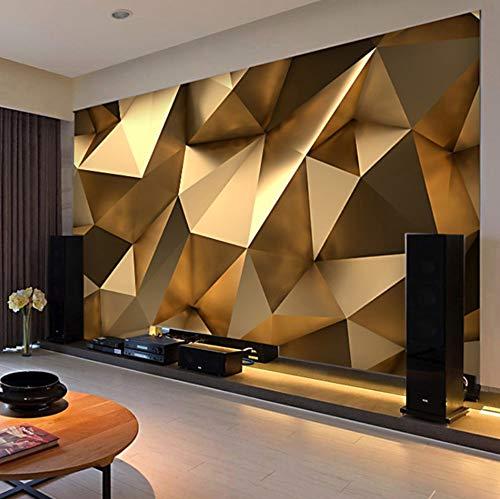 Wandtapete 3D Gold geometrische Kunst Wandverkleidung Wohnzimmer TV Sofa Wandverkleidung Heimtextilien