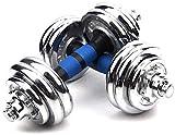 WANGCAI Ajustable con Mancuernas Peso de la Mano con Barra Juego de Pesas de Pesas y Edificio de Cuerpo de Metal Asas ergonómicas impida la Rodadura y Lesiones Dumbb (Size : 15kg)