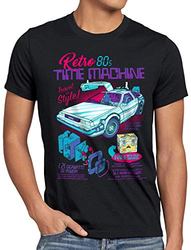 style3 Delorean Zeitmaschine Herren T-Shirt zeitreise 80er McFly Auto, Größe:XL