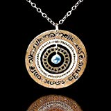 Gold Blessings Necklace in Hebrew with Blue Topaz, Packaged for Giving, Handmade in Israel