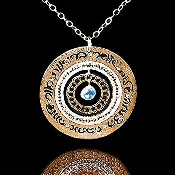 Gold Blessings Necklace in Hebrew with Blue Topaz Packaged for Giving Handmade in Israel