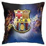 longdai Fundas de cojín con logotipo del FC Barcelona 45 x 45 cm, modernas fundas de almohada decorativas para sofá