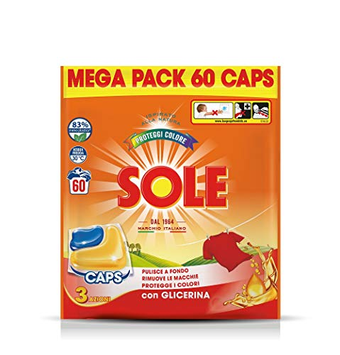 Sole Gelcaps Colori Protetti, Detersivo Lavatrice in Capsule, Pastiglie Lavatrice, Tripla Azione, 1 Confezione da 60 Lavaggi