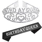 RK-HYTQWR Birthday Queen Sash & Rhinestone Headband Set - Birthday Sash Regalos de cumpleaños para Mujeres Suministros de Fiesta de cumpleaños,Birthday Queen Diadema Correa para el Hombro Plata,Plata