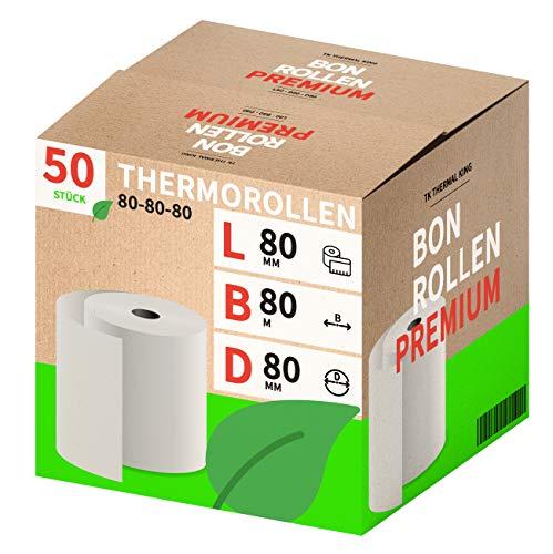 Thermorollen 80mm x 80mm x 12mm – Thermopapier Bonrollen (80 80 12) 48g - zertifiziert für Kassen-Drucker wie Epson, IBM, Metapace uvm. - Premium BPA Frei (50)
