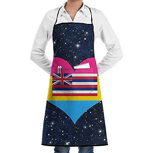 Myrdora Pansexual Heart Hawaii State Flag einstellbare Küchenchef Schürze mit Fronttasche für Erwachsene Unisex