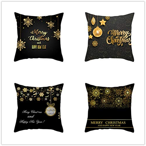 Set of 4 Pcs Throw Pillow Case Cushion Covers Christmas Ornament Snowflake Velvet Soft Fiber Square Decor Throw Pillowcases for Living Room Sofa Car with Concealed Zip E5074 55x55cm/21.5x21.5in