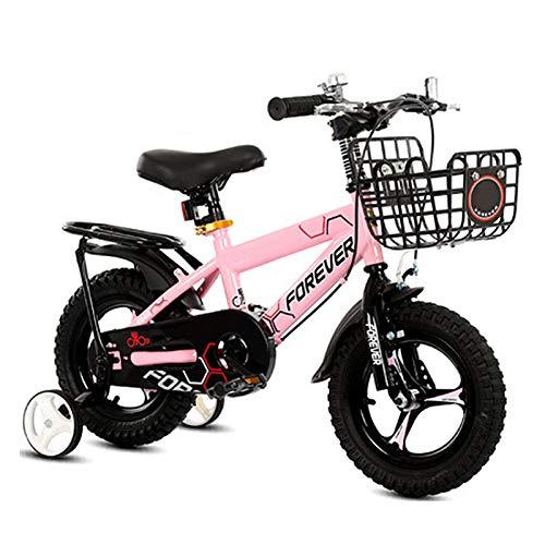 Kids Bikes Chunlan Bicicleta para Niños Freno Sensible con 2 Frenos, Campanas, Cesta, Guardabarra Y Cubierta De Cadena. por 2-8 Años De Edad Muchacha Rosado/Rojo(Size:16 Inches,Color:Rosa)