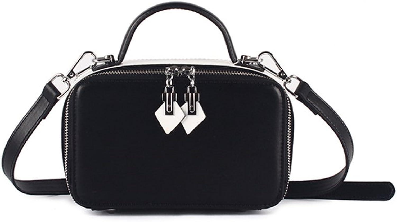 Sturdy New Simple Retro Double Zipper Hit color Square Leather Shoulder Handbag Messenger Handbag Large Capacity (color   Black)