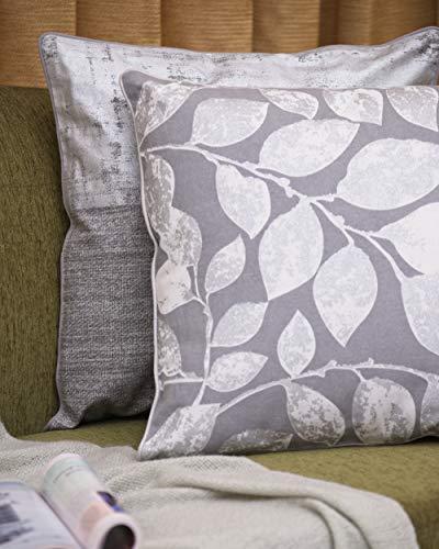 """Pinguin Home 100% Baumwolle Mode gedruckte Folie Blatt Kissenbezug Dekorative Stilvolle Weiche Hüllen mit Reißverschluss für Wohnzimmer Sofa Couch Bett (2er Set - 45cm*45cm/18""""*18""""), Grau, 45 * 45cm"""