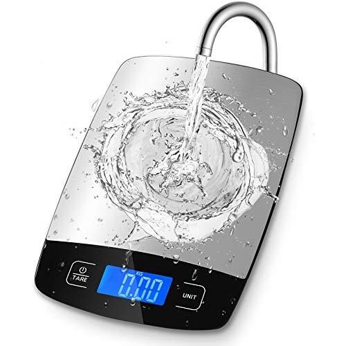 HOMTORA Küchenwaage Digitalwaage 1g bis 5kg, Professionelle Waage mit großem LCD-Display und TARA-Verfahren, Electronische Waage aus Edelstahl Wiegefläche,ultradünne Küchenwaage Digital (silber)