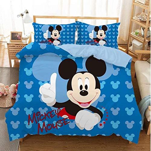 Amacigana Ropa de Cama Mickey Mouse,Diseño Mickey and Friends,3 Piezas,con Funda nórdica y Funda de Almohada,Multicolor (A12,135 x 200 cm)