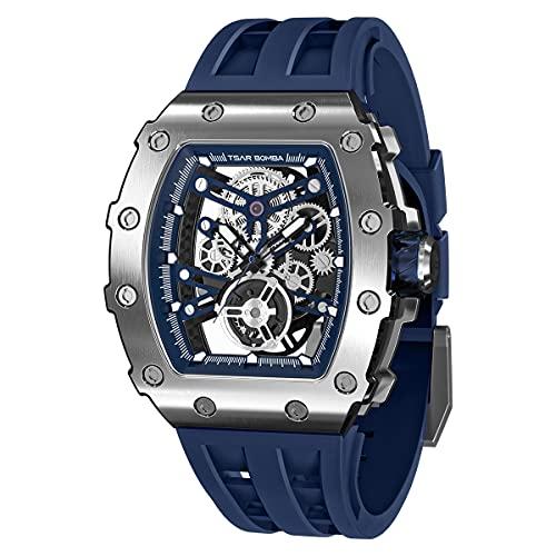 TSAR BOMBA Herren Uhr Automatik Mechanische Armbanduhr Tonneau Design Geschenk für Männer mit 316 Edelstahlgehäuse 100M Wasserdichter Militär Luxus Design Stilvolles Sport Herrenuhr (Blau D)
