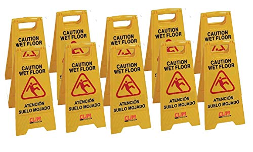 Señal de advertencia de pavimento mojado. Pack 10 unidades. Clim Profesional. Especial para empresas y grandes superficies