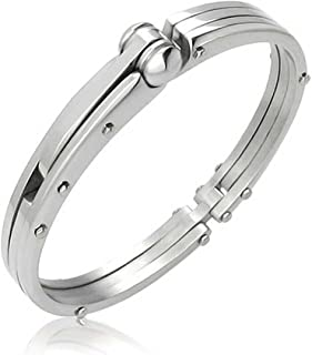 Partner in Crime Handcuff for Mens for Women Bracelet Bangle Silver Tone Stainless Steel