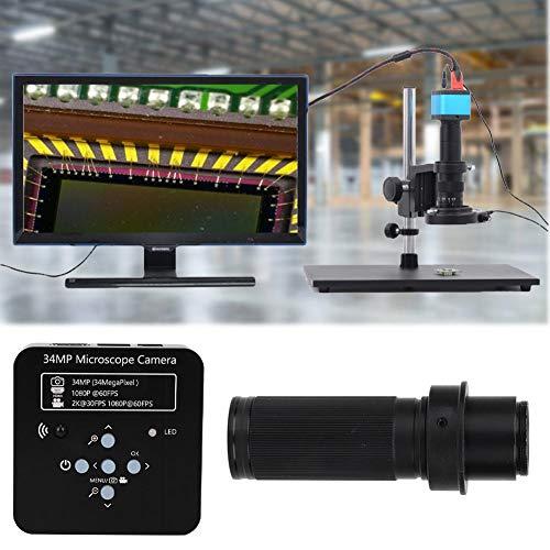 Industrial Camera Microscope, 34mp 120x Lens Electron Microscope HDMI USB Industrial Microscope Camera 100-240V, Microscope Magnifier(#2)
