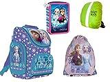 Disney Frozen Anna und ELSA Schulranzen Ranzen Tornister, gefüllte Federmappe 26-teilig, Turnbeutel + Regenschutz Eiskönigin Schulranzen Set