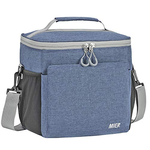 MIER Insulated Lunch Bag Men and Women Soft Cooler Lunch Box Tote with Shoulder Strap Leakproof Liner 24 Can Bluesteel