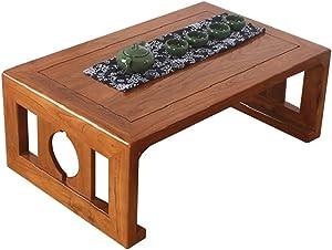 Wangzhefengfan Tavolino da caffè Tavolino Tavolino Minimalista Elegante Tavolo da Salotto Giapponese in Tatami Tavolo in Legno massello Tavolo da bara Antico (Color : Brown, Size : 60 * 40 * 30CM)