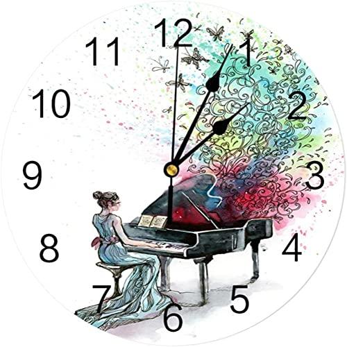 Gran decoración reloj de pared pintura al óleo estilo piano mujer música CLORURO DE POLIVINILO Reloj de pared Diseño moderno Decoración del hogar Dormitorio Silent Oclock Watch Wall para la sala de es
