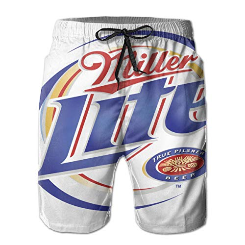 Miller Lite Men's Quick Dry Swim Trunks Beach Shorts Board Shorts with Mesh Lining