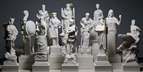 12-er Set Figuren, griechische Olympische Götter, Pantheon, Alabaster