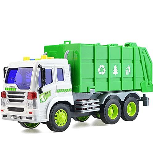 GOSHITONG Camión Grande De Saneamiento Camión De Basura/Camión De Transferencia/Grúa Juguete para Niños Vehículo De Limpieza Inercial Vehículo De Ingeniería Modelo De Automóvil La Simulación De Re