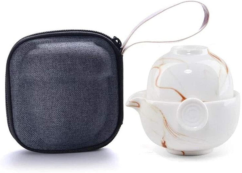 TAO Service à thé en céramique de style japonais en couple avec tasses portables pour les voyages en plein air à domicile (1 théière, 1 tasse à thé) (Couleur   Beige)