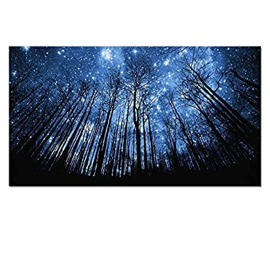 20 x36  Starry Night Forest Canvas Wall Art Prints,Landscape Canvas Picture Wall Decal,Stretched and Framed,Easy Hanging On