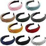 MaoXinTek Diademas de Pelo Anchas 10 Colores Elástica Turbantes de Nudo Bandas Diadema para Niñas Mujeres 10 Piezas