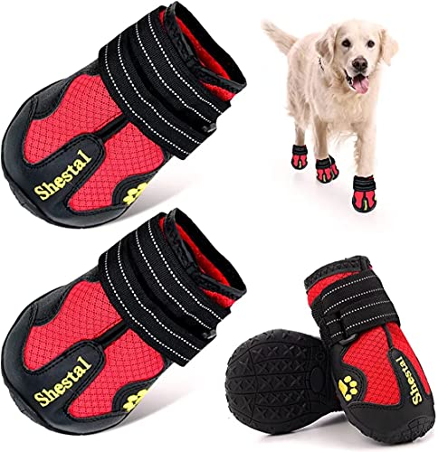 CADO SHY Dog Booties for Large Dog, Dog Shoes for Large Dogs Hot Pavement, Breathable Dog Boots for Anti-Slip, Heat Protection, Comfortable Material, 4Pcs (Red, Paw Size: 3.1'x2.7'(LW) for 63-75 lbs)