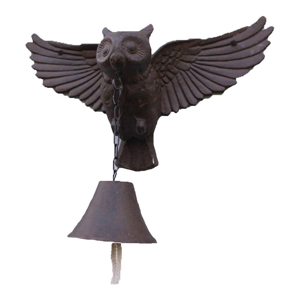Puerta campana jardín granja Winged Owl Hierro Fundido Colgante Timbre Clásico Cena Campana Rústico Montaje en pared Puerta de metal Timbre de llamada for la casa exterior Jardín Patio Estilo Vintage: Amazon.es: